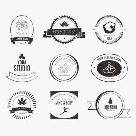 exercise silhouette: Set of icons for yoga studio or meditation class.