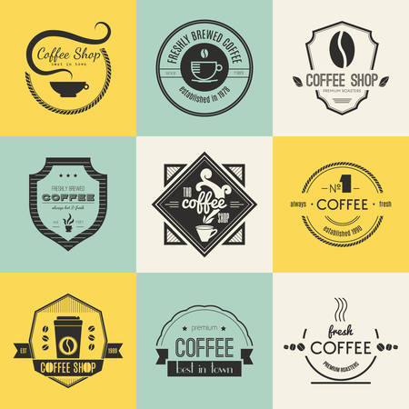 coffee: Vector set of coffee shop restaurant or bar design elements with mugs and beans. Ribbons, circle shapes, lables, insignias with coffee related elements. Vintage and retro styled quality badges.