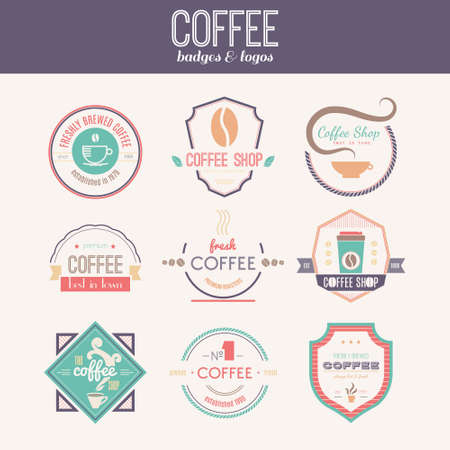 Vector set of coffee shop, restaurant or bar design elements with mugs and beans. Ribbons, circle shapes, lables, insignias with coffee related elements. Vintage and retro styled quality badges.