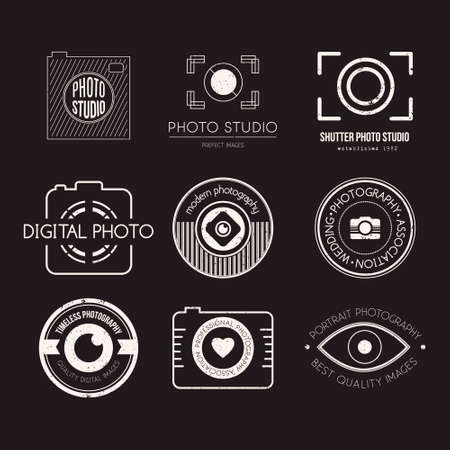 lenses: Vector collection of photography templates. Photocam. Photography vintage badges and icons. Modern mass media icons. Photo labels.