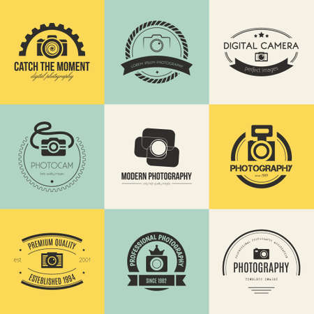 photography: Vector collection of photography templates. Photocam. Photography vintage badges and icons. Modern mass media icons. Photo labels.