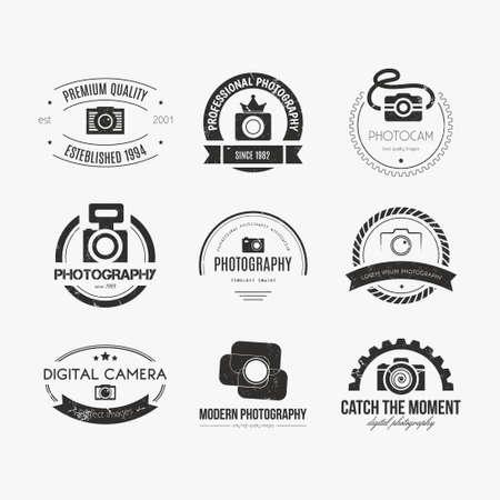 vintage foto: Vector collectie van de fotografie logo templates. PhotoCam logo's. Fotografie vintage badges en pictogrammen. Moderne massamedia iconen. Foto labels. Stock Illustratie