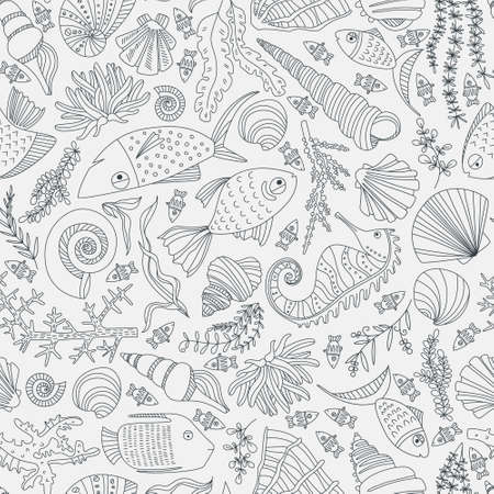 ocean background: Vector seamless pattern with hand drawn fishes, corrals, shells, seaweeds, sea-horse and other underwater creatures. Ocean background. Tropical sea life design.