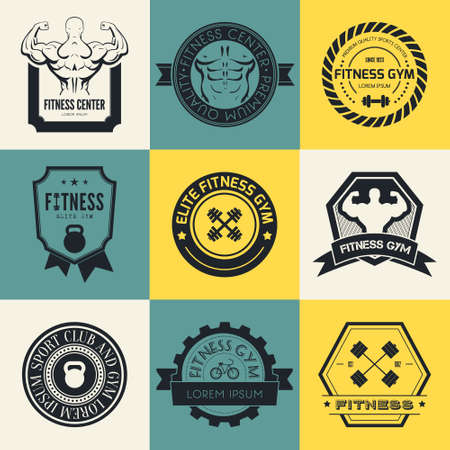 workout gym: Set of different sports and fitness templates. Gym. Athletic labels and badges made in vector. Bodybuilder, fit man, athlet icon. Illustration