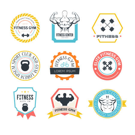 sport silhouette: Set of different sports and fitness templates. Gym Athletic labels and badges made in vector. Bodybuilder, fit man, athlet icon.