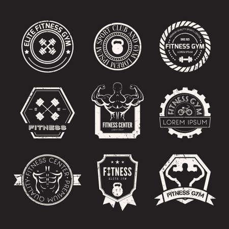 aerobics: Conjunto de diversos deportes y plantillas de fitness. Etiquetas atl�ticos e insignias hechas en vector. Bodybuilder, el hombre en forma, icono athlet.