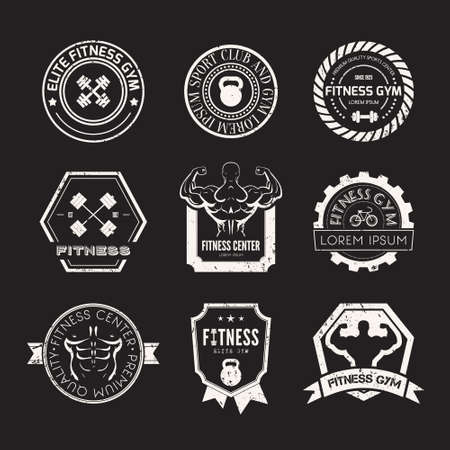 workout gym: Set of different sports and fitness templates. Athletic labels and badges made in vector. Bodybuilder, fit man, athlet icon.