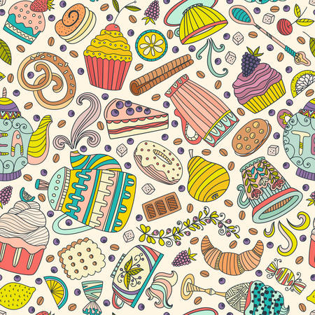 Cute seamless pattern with sweets and desserts: cupcake, ice cream, teapot. Doodle style vector. Baked goods, restaurant menu and tea party background.