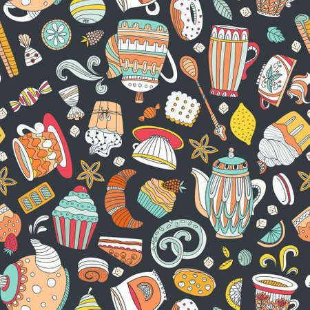 baked goods: Cute seamless pattern with sweets and desserts: cupcake, ice cream, teapot. Doodle style vector. Baked goods, restaurant menu and tea party background.