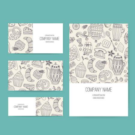 postres: Negocio Conjunto de vectores plantilla con ilustraciones de postres elaborados mano linda. Restaurante o cafeter�a de branding elementos. Dise�o de folleto con pastelitos y dulces. Vectores