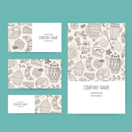stationery set: Vector business set template with cute hand drawn dessert illustrations. Restaurant or cafe branding elements. Flyer design with cupcakes and sweets.