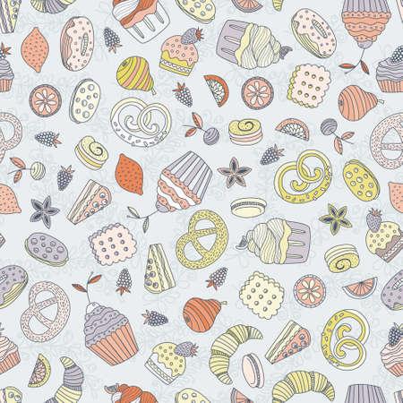fond restaurant: Seamless doux avec diff�rents desserts: petit g�teau, la cr�me glac�e, tarte, fruits. La main de style Doodle trac� vector background. Le menu du restaurant ou de fond de th�.