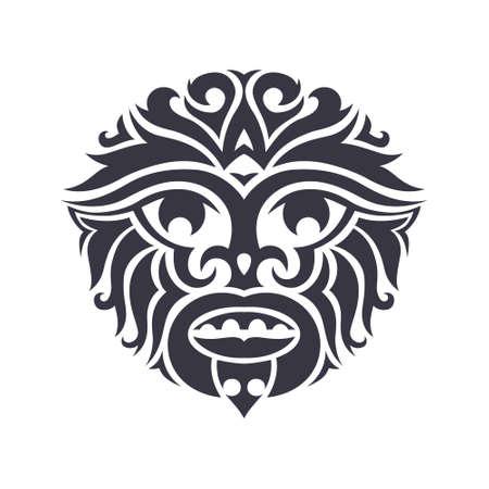 Máscara tribal hecho en vector. Aislado símbolo totem tradicional.