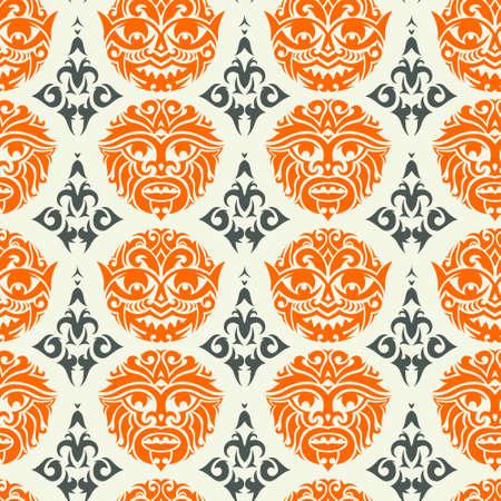 arte africano: M�scara tribal sin patr�n. Dise�o del vector del fondo cultural �nico. Tradicionales s�mbolos tot�micos africano y polinesio.