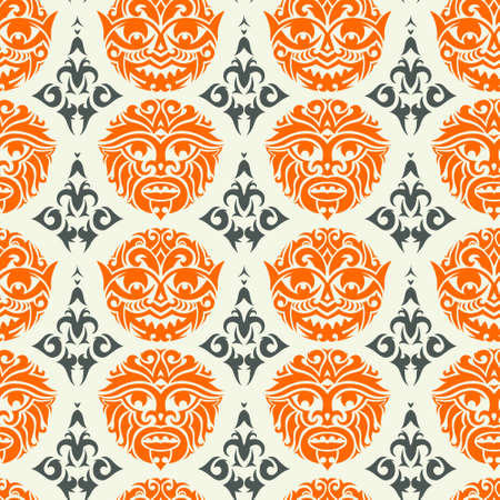 african culture: Tribal mask seamless pattern. Unique cultural vector background design. Traditional african and polynesian totem symbols.