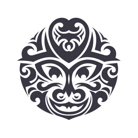 tiki: Tribal mask made in vector. Traditional totem symbol isolated.