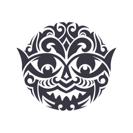 Tribal masker gemaakt in vector. Traditionele totem symbool geïsoleerd. Stock Illustratie