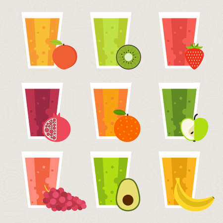 licuado de platano: Colección batido de frutas. Elemento de menú para bar o restaurante con bebida fresca energética hecha en estilo plano. El jugo fresco para la vida sana. Batidos crudos orgánicos. Vectores