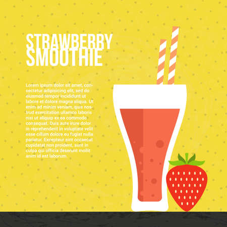 fruit smoothie: Strawberry smoothie vector concept. Menu element for cafe or restaurant with energetic fresh drink made in flat style. Fresh juice for healthy life. Organic raw shake.