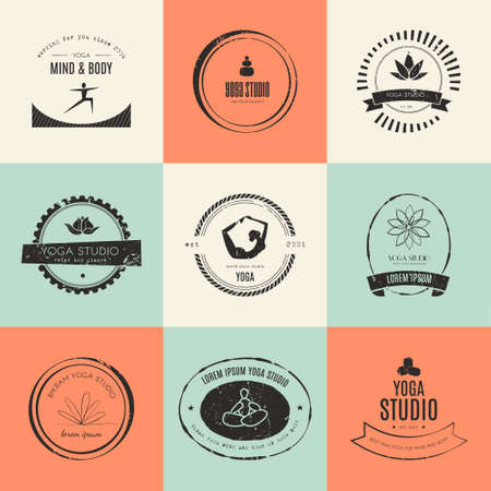 yoga class: Set for yoga studio or meditation class. Modern fitness badges collection made in vector. Yoga vector template. Healthcare, sport, fitness, spa design elements. Anusara, ashtanga, bikram, hatha, hot yoga, vinyasa symbols.