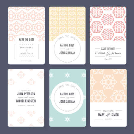 ornamental background: Set of perfect vector card templates. Ideal for Save The Date, baby shower, mothers day, valentines day, birthday cards, invitations. Illustration
