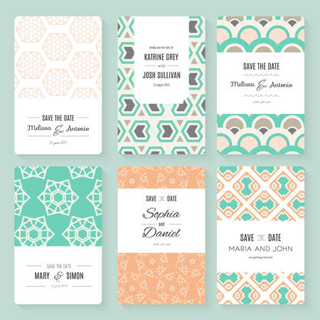 Reserva elegante la colección de tarjetas invitación de la fecha o de la boda. Vector plantilla de tarjeta romántica. Perfecto para las invitaciones de boda, invitaciones de boda, baby shower.