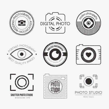 Vector collectie van de fotografie logo templates. PhotoCam logo's. Fotografie vintage badges en pictogrammen. Moderne massamedia iconen. Foto labels. Stock Illustratie