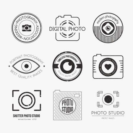 Vektor-Sammlung von Fotografie Logo-Vorlagen. Photocam Logos. Fotografie Vintage-Abzeichen und Symbole. Modernen Massenmedien Icons. Bildetiketten. Standard-Bild - 36182534