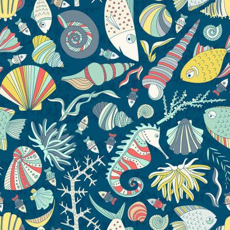 手でシームレスなパターン ベクトル描画、魚、囲い、貝、海藻、海の馬および他の水中の生き物。海を背景。熱帯の海洋生物の設計。