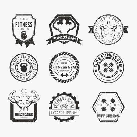 fitness and health: Set di diversi sport e modelli di fitness logo. Loghi palestra. Etichette atletici e distintivi realizzati in vettoriale. Bodybuilder, uomo in forma, icona atleta.