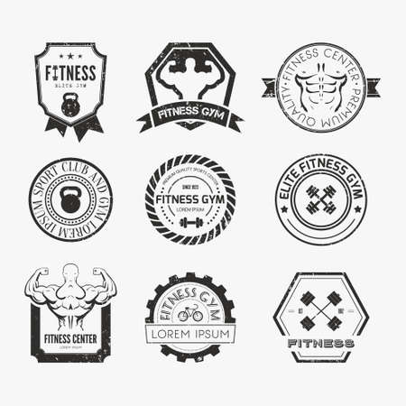 healthy exercise: Set of different sports and fitness logo templates. Gym logotypes. Athletic labels and badges made in vector. Bodybuilder, fit man, athlet icon. Illustration
