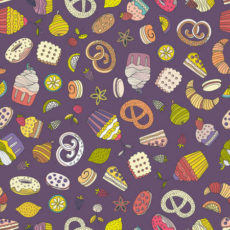 blueberry pie: Sweet seamless pattern with different desserts: cupcake, ice cream, pie, fruits. Doodle style hand drawn vector background. Restaurant menu or tea party background.