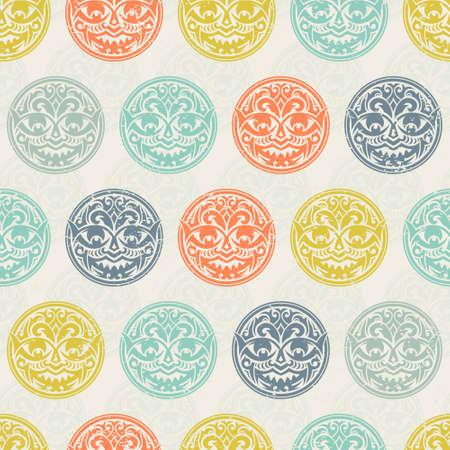 maschera tribale: Maschera tribale seamless. Culturale vector background design unico. Tradizionali simboli totem africani e polinesiana.