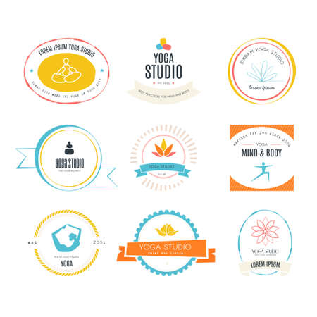 stretching exercise: Set of logos for yoga studio or meditation class. Modern fitness badges collection made in vector. Yoga vector logotype template. Healthcare, sport, fitness, spa logo design elements. Anusara, ashtanga, bikram, hatha, hot yoga, vinyasa symbols. Illustration
