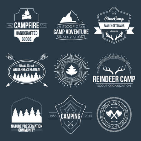 alps: Set of vintage camping and outdoor activity logos. Vector logotypes and badges with forest, trees, mountain, campfire, tent, antlers.