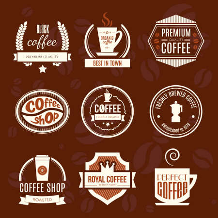 Vector set of coffee shop logos, restaurant or bar logotype design elements with mugs and beans. Ribbons, circle shapes, lables, insignias with coffee related elements. Vintage and retro styled quality badges. Vector