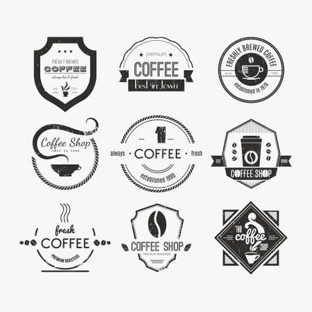 coffee: Vector set of coffee shop logos, restaurant or bar logotype design elements with mugs and beans. Ribbons, circle shapes, lables, insignias with coffee related elements. Vintage and retro styled quality badges.