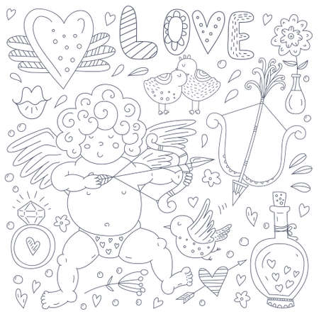 eros: Cupid, hearts and arrows, diamons ring and other cute romantic vector elements. Handdrawn doodle Valentine's day characters and illustrations. Illustration