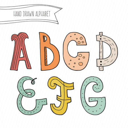 Cute Hand Drawn Alphabet For Kids Made In Vector Doodle Letters A B