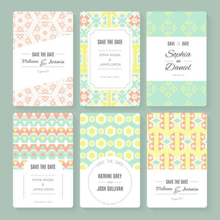 save: Set of perfect vector card templates. Ideal for Save The Date, baby shower, mothers day, valentines day, birthday cards, invitations. Illustration