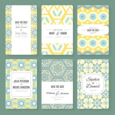 Stylish save the date or wedding invitation card collection. Vector romantic card template. Perfect for wedding invitations, wedding cards, baby shower. Vector