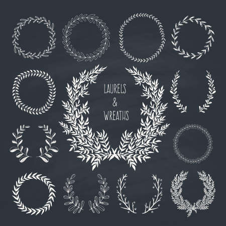 wreath collection: Collection of handdrawn laurels and wreaths. Floral wreath with copyspace for your text. Save the date, wedding or invitation card design element. Valentine's card design template.