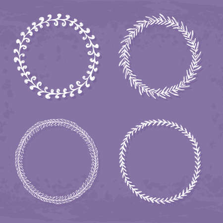 Round handdrawn wreaths on texturized vintage background. Collection of clip art vector bouquets. Romantic wreath with copyspace for your text.