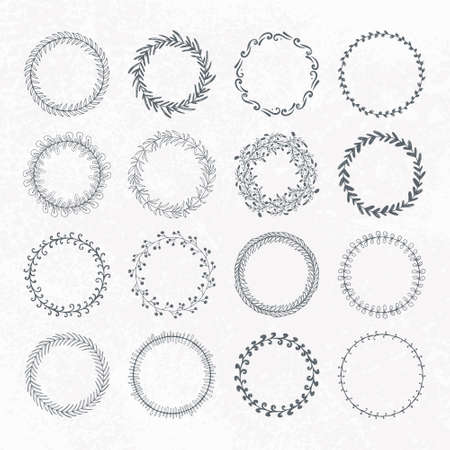 texturized: Round handdrawn wreaths on texturized vintage background. Collection of clip art vector bouquets. Romantic wreath with copyspace for your text.