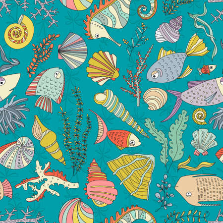 oceanside: Vector seamless pattern with hand drawn fishes, corrals, shells, seaweeds, sea-horse and other underwater creatures. Ocean background. Tropical sea life design.