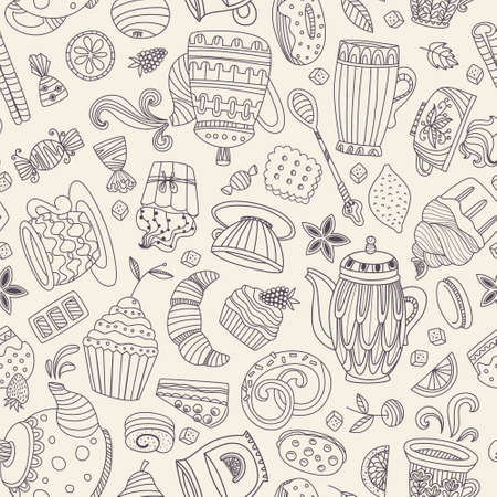 Cute seamless pattern with sweets and desserts: cupcake, ice cream, teapot. Doodle style vector. Baked goods, restaurant menu and tea party background. Vector