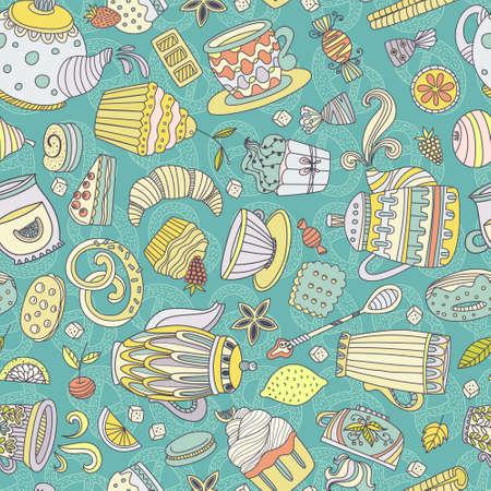 prodotti da forno: Carino seamless con dolci e dessert: Cupcake, gelati, teiera. Vettoriale Doodle stile. Prodotti da forno, men� ristorante e tea party sfondo.
