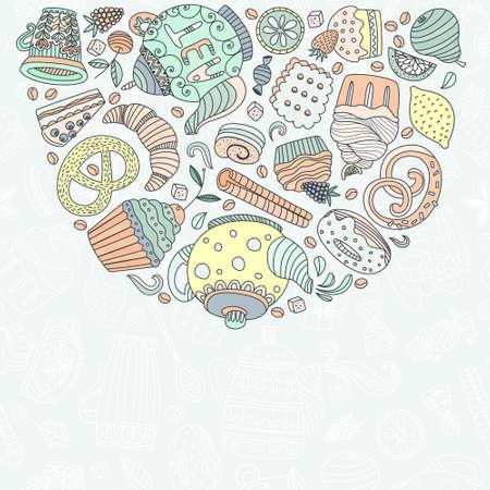 prodotti da forno: Concetto dessert fatto in vettoriale. I prodotti da forno e dolci per la progettazione. Cupcake, teiera, prodotti da forno e altri dolci.
