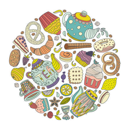 blueberry pie: Dessert concept made in vector. Baked goods and sweets for your design. Cupcake, teapot, baked goods and other sweets. Illustration