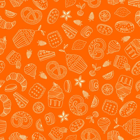 Sweet seamless pattern with different desserts: cupcake, ice cream, pie, fruits. Doodle style hand drawn vector background. Restaurant menu or tea party background. Vector